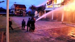 Het museum op brand stock footage