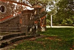 Het Museum van Biscaye en van de Tuinenbinnenplaats Steentreden Stock Fotografie