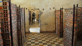 Het Museum van de Volkerenmoord van Sleng van Tuol, Phnom Penh, Kambodja. Stock Foto
