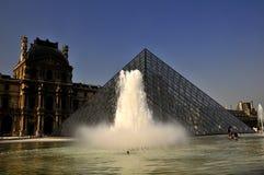 Het museum van het Louvre - fonteinen Stock Foto's