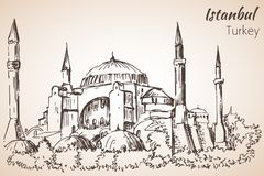 Het museum van Istanboel Hadia Sophia - Ayasofya Turkije schets Royalty-vrije Stock Fotografie