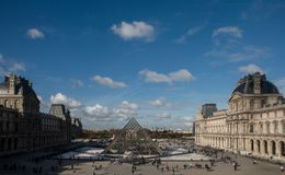 Het Museum van het Louvre in Parijs, Frankrijk Stock Fotografie