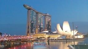 Het Museum van Marina Bay Sands ArtScience en schroefbrug Royalty-vrije Stock Foto's