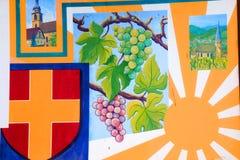 Het Muurschilderij van de Wijn van de Elzas Stock Afbeeldingen