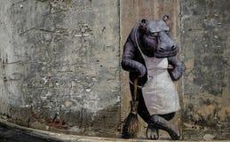 het muurschilderij van een nijlpaard royalty-vrije stock foto's
