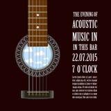 Het muziekoverleg toont affiche met akoestische gitaar Vector Stock Afbeeldingen