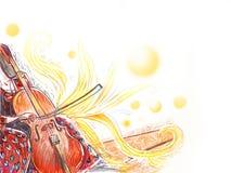 Het muzikale instrument van het celloorkest stock illustratie