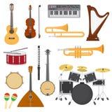 Het muzikale overleg van de instrumenten vectormuziek de illustratiereeks met akoestische gitaar of balalaika en van de van de mu vector illustratie