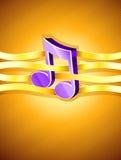 Het muzikale symbool van de nota dat door gouden lint wordt doorweven stock illustratie