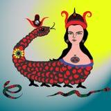 Het mythologische beeld van een slangvrouw, dat ook een symbool van de stad van Mardin is royalty-vrije illustratie