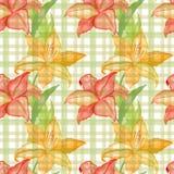 Het naadloze behang met lilly bloeit op geruite achtergrond, waterverfillustratie royalty-vrije illustratie
