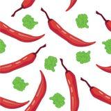 Het naadloze behang van de Peper van de Spaanse peper Stock Foto