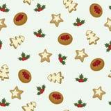 Het naadloze behang van Kerstmiskoekjes Stock Foto's