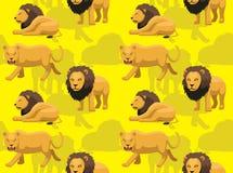 Het Naadloze Behang van Lion Male Resting Cartoon Background vector illustratie
