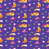 Het naadloze behang van waterverfkatten De kinderenillustratie van beeldverhaaldieren Achtergrond van het Emoji de violette patro stock fotografie