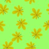 Het naadloze blad van de textuurkastanje op een heldergroene achtergrond Stock Foto's