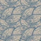 Het naadloze blauwe patroon van krabbelpaisley Stock Foto