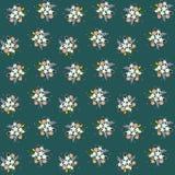 Het naadloze bloemen kleine gebied van de patroonsamenstelling bloeit de bladeren van takjesbessen op groene blueishachtergrond,  vector illustratie