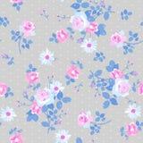 Het naadloze bloemenpatroon met bunchs van zacht wit en roze rozen en madeliefje bloeit op grijze stipachtergrond vector illustratie