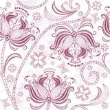 Het naadloze bloemenpatroon van Bourgondië Stock Afbeelding