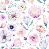 Het naadloze bloemenpatroon van de de lente lilic waterverf op een witte achtergrond Het roze en nam bloemen, weddind decoratie t Stock Afbeeldingen