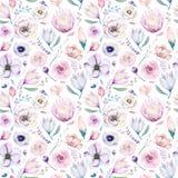 Het naadloze bloemenpatroon van de de lente lilic waterverf op een witte achtergrond Het roze en nam bloemen, weddind decoratie t Stock Foto's