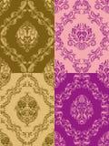 Het naadloze bloemenpatroon van het damast Stock Fotografie