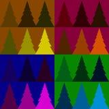 Het naadloze bos van de patroon kleurrijke spar Royalty-vrije Stock Afbeeldingen