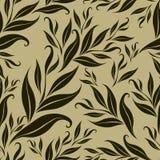Het naadloze bruine bloemenpatroon met doorbladert vector illustratie