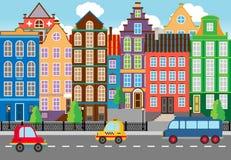 Het naadloze Cartooned-Grafische Stadsleven vector illustratie