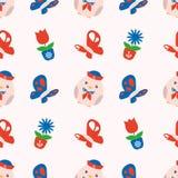 Het naadloze de lentepatroon met leuke rode en blauwe maritieme mollige kuikens, vlinders en de lente bloeit op witte achtergrond royalty-vrije illustratie