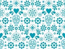 Het naadloze die patroon van de suikerschedel door Mexicaanse volkskunst, het herhaalde ontwerp van Dia de Los Muertos in turkooi vector illustratie