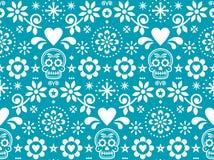 Het naadloze die patroon van de suikerschedel door Mexicaanse volkskunst, het herhaalde ontwerp van Dia de Los Muertos in wit op  royalty-vrije illustratie