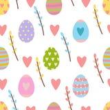 Het naadloze die patroon van Pasen van de hand getrokken elementen van de de lentetijd wordt gemaakt stock illustratie