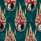 Het naadloze digitale vectorpatroon met biljart voegt snooker 8 bal samenpictogrammen en vlammen stock illustratie