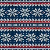 Het Naadloze Gebreide Patroon van de de wintervakantie Royalty-vrije Stock Fotografie