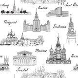 Het naadloze gegraveerde architecturale patroon van reisrusland Beroemde Ru Royalty-vrije Stock Fotografie