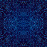 Het naadloze gekleurde met de hand gemaakte Blauw van patroontracery Stock Foto's