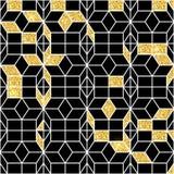 Het naadloze geometrische patroon met goud glanst Geometrische eenvoudige druk Vector die textuur herhalen Islamitisch patroon na Royalty-vrije Stock Afbeeldingen