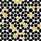 Het naadloze geometrische patroon met goud glanst Geometrische eenvoudige druk Vector die textuur herhalen Islamitisch patroon na Royalty-vrije Stock Foto