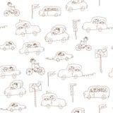 Het naadloze patroon van jonge geitjes en van auto's Royalty-vrije Stock Afbeelding
