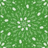 Het naadloze groene patroon van de Kerstmishulst stock illustratie