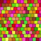 Het naadloze hoogtepunt kleurde het patroonachtergrond van de mozaïektextuur - vierkante stukken in groen, oranje, gegroeid, rood vector illustratie
