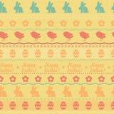 Het naadloze horizontale patroon van Pasen - gele kleur Stock Afbeeldingen