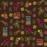 Het naadloze patroon van tikiHawaï stock afbeelding
