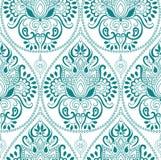 Het naadloze Indische bloemenpatroon van Paisley Etnisch mandalaornament Uitstekend decoratief rond elementen en kantkader Terugg Royalty-vrije Stock Afbeeldingen