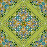 Het naadloze Indische bloemenpatroon van Paisley Etnisch mandalaornament Uitstekend decoratief rond elementen en kantkader Terugg Stock Afbeelding