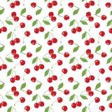 Het naadloze kersenpatroon, de rode kersen en de witte achtergrond voor het scrapbooking, giftwrap, stof en behang ontwerpen proj vector illustratie