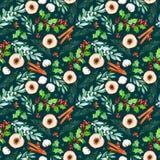 Het naadloze Kerstmispatroon met bloemen, houten plakken, bladeren, takken, katoen bloeit royalty-vrije illustratie