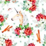 Het naadloze Kerstmispatroon met bloemen, leuke eenhoorn, bladeren, takken, katoen bloeit Stock Afbeeldingen